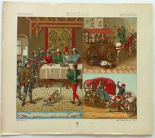 Attelage MOYEN AGE Chromolithographie originale RACINET 1888