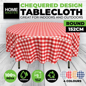 Home Master® Table Cloth Round Checkered Flannel Back Various Colours 152CM