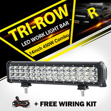 "Tri-row 14""inch 450W CREE LED Work Light Bar Combo Offroad SUV Driving 4x4WD UTE"