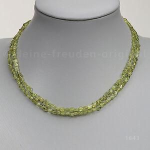 Halskette Kette Collier aus grünem Peridot, 2-reihig Geschenk 1643