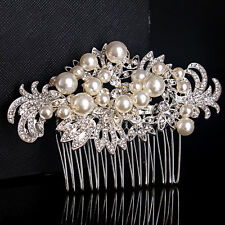 Crystal pearl argent cheveux peigne strass clip diadème mariage bal prom têtière