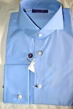 $450 NWT PURPLE LABEL Ralph Lauren 14.5 eu37 Sky BLUE Keaton cotton dress shirt