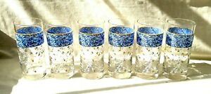 Set of 6 Glass Tumblers/Drinking Glasses - France - Blue with Flowering Vines