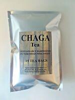 Chaga Mushroom Tea, Herbal Tea, Fresh 2019, Northern WI, 15 individual tea bags