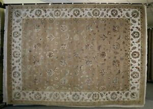 """9'0"""" x 12'3"""" ft. Silk Flower Hand Knotted Oriental Wool and Silk Rug"""