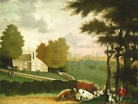 EDWARD HICKS AMERICAN GRAVE WILLIAM PENN OLD ART PAINTING POSTER BB5237A