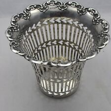 GOOD ANTIQUE EDWARDIAN SILVER PIERCED VASE BOTTLE COASTER STAND CHESTER 1906
