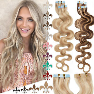 Full Head Tape In Human Hair Extensions 100% Real Remy Hair Skin Weft THICK Wavy