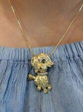 Vintage Diamond Ruby Emerald 18K Yellow Gold Schnauzer Dog Pin Pendant #rome107