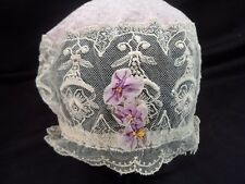 Vintage 1920's Boudoir Night Cap Hat -- Lace and Lavender Silk -- Gorgeous!