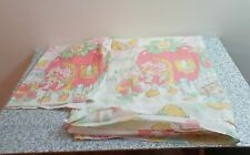 VINTAGE STRAWBERRY SHORTCAKE TWIN SIZE FLAT SHEET WITH PILLOW CASE ..