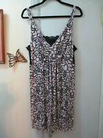 Alfani  Peach? Floral w/Black Lace Adjustable Straps Stretchy Knit Gown  Size 1X