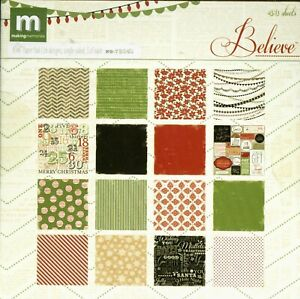 Christmas Believe Red Green Black Holiday Snow 6 x 6 Making Memories Paper Pad