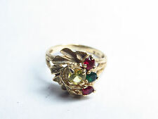 14Kt YELLOW GOLD MULTI COLOR STONES RING SIZE 6 WOMEN RUBY, EMERALD & CETRINE 3G