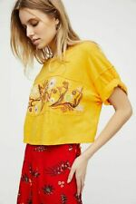 New listing Free People We The Free Garden Time Tee Floral Embroidered Open Crop Top Large L