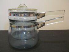 Pyrex Blue Tint Double Boiler 6762 3 piece saucepan lid vintage No Chips