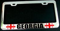 GEORGIA COUNTRY FLAG HEAVY DUTY CHROME License Plate Frame Tag Holder
