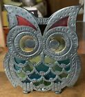 Vtg+1960s+70s+OWL+Napkin+Bill+Holder+Cast+Iron+Stained+Glass+ST+Taiwan
