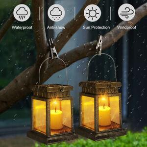2Pack Outdoor Solar Lantern Hanging Light LED Candle Yard Patio Garden Lamp