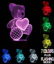 Ilusión óptica 3D Lámpara De Oso De Peluche * Cambio de Color de 7 Colores *