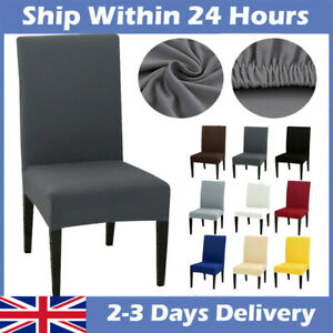 UK 6PCS DINING CHAIR SEAT COVERS SLIP STRETCH WEDDING BANQUET PARTY REMOVABLE