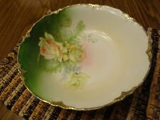 Vintage Antique Porcelain Hand Painted Bowl, Pink and Green Roses