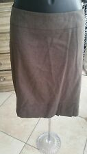 The Limited Collection - Brown fine check pencil skirt, pleated hem, size 12