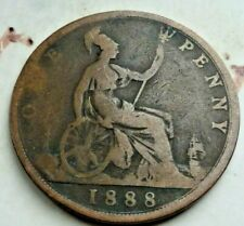 1888 YOUNG/BUN HEAD VICTORIA BRITISH PENNY WITH NICE DETAIL (DC242)