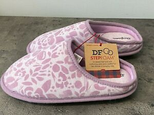 Dearfoams Women's S 5/6 Purple Floral Embossed Clog Slipper House Shoes Stepfoam