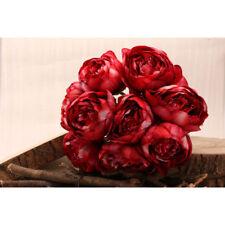 9 Cabeza Artificial Peonía Ramo Boda Seda Flor Rosa Rojo Bermellón Marfil