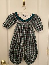 Carriage Boutique Baby Girls Plaid Christmas Smocked L/S Romper Sz 24 Mths Euc