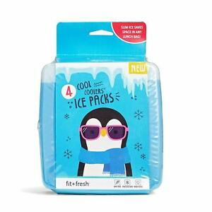 Blue Set Cool Coolers Slim Ice Packs For Lunch Box Bag By Fit Fresh