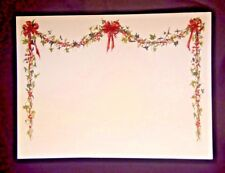 Garland & Bows Christmas Holiday Blank Cards 10 & Envelope Red Green Ivy Berries