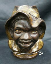 Vintage Cast Iron Black Americana A Man Wearing a Hat Coin Bank