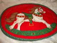"""Vintage Christmas Placemats Oval Quilted Set (6) Rocking Horse H=13"""",W=17""""   373"""