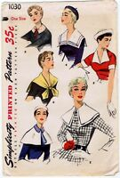 Simplicity # 1030 Fabric Sewing Pattern Unique Collars & Cuff 1950's One Size