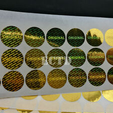 100PCS 15mm diameter , Gold ORIGINAL warranty seal laser hologram label sticker