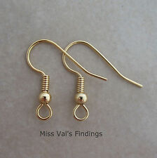 50 gold surgical steel fishhook hook ear wires earrings 21g 19mm ball coil