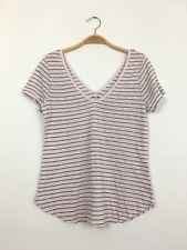 de2ab447e1902 THREE DOTS Short Sleeve V-Neck Striped Supima Cotton Pink Top Tee Shirt S   88