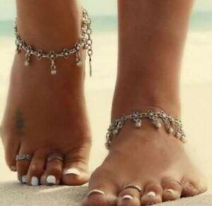 Summer beach boho foot wear silver anklet gypsy bohemian tassel dangle 80