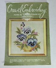 New listing Vintage Elsa Williams Crewel Embroidery Kit 264 Started Pansies in Basket