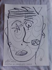 Royston Du Maurier-Dibujo Original LEBEK firmado Fieltro Punta Pluma de la cara en papel (R)