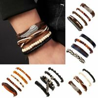 Fashion Punk Multilayer Genuine Leather Bracelet Braided Bangle Wristband Set