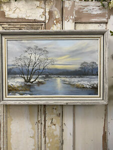 OLD Welsh MID CENTURY WINTER SNOW Painting Canvas LANDSCAPE Vintage Signed