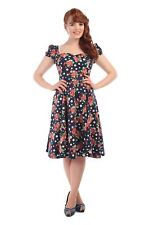 COLLECTIF VINTAGE MIMI POLKA DOT FLORAL DRESS 8-22 1950S FLARED