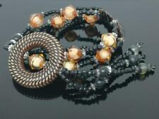 Vintage Beautiful Retro Art Deco Black Brown Beaded Women Necklace F/S (J538)
