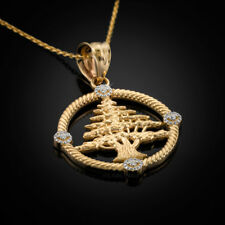 Gold Cedar Tree of Lebanon Diamond Pendant Necklace (10k, 14k)