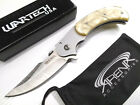 Faux Etch Damascus Spring Assist Trailing Point Pocket Knife Frame Flipper Pearl