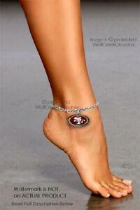 """SAN FRANCISCO 49ERS ANKLE BRACELET ADJUSTABLE 10"""" ANKLET NFL FOOTBALL FREE SHIP'"""