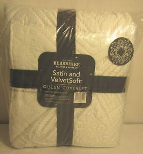 """Berkshire Blanket Velvet Soft Satin Quilted Coverlet, White Queen 94"""" x 90"""" NEW"""